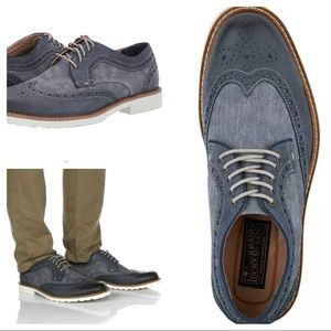 Lucky Brand Mealey Navy Denim Leather Oxford Shoe